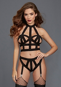 Collared Bralette Set - Black