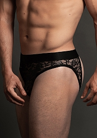 Lace Open Back Brief - Black