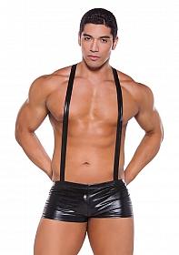 Zeus Wetlook Suspender Shorts - Black