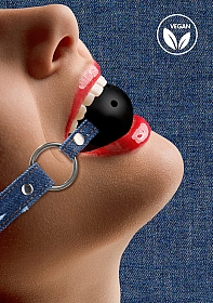 Breathable Ball Gag - With Roughend Denim Straps - Blue