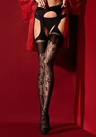 AMOROSA Suspender pantyhose 30 den - Black