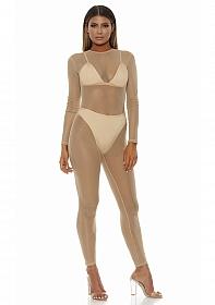 Micro net mock net jumpsuit - Nude - S/M