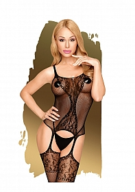 Miss curvy  -  Net bodystocking with lace details  -  black