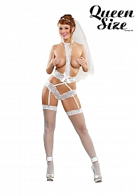 Lace Arrow Teddy w/Garters - White