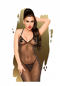 Love on fire  -  Sheer shimmer dress with thong, 2 pieces  -  bl
