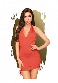 Earth-shaker - V-neck mini dress with side gathering including t