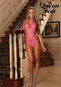 Lace V-Teddy - Pink