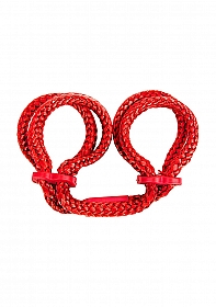 Japanese Silk Love Rope Ankle Cuffs - Red