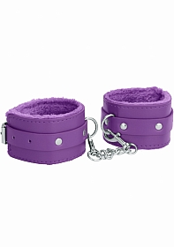Ouch! Plush Leather Hand Cuffs - Purple
