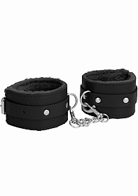 Ouch! Plush Leather Ankle Cuffs - Black