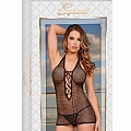 Chemise w/ Lace up Back & G-String - Black