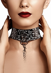 Collar with Leash - Love Street Art Fasion - Black