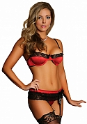 Bra, Garter & G-String - Red