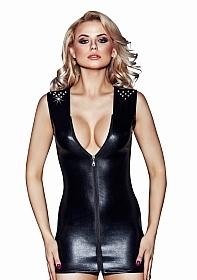 IVANA Wetlook Zipper Dress - Black