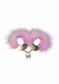 Metal and Feather Handcuffs - Pink
