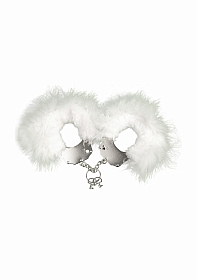 Metal and Feather Handcuffs - White
