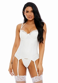 Laced In Matte Bustier Faux Leather Lingerie Set - White