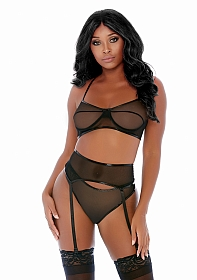 Compare and Contrast Lingerie Set - Black