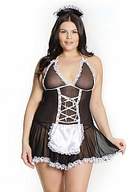 French Maid Baby Doll - Black/White