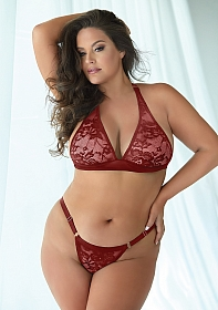 Lace and Mesh bralette and Panty - Burgundy