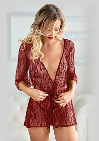 Leopard Lace Robe with G-string - Burgundy