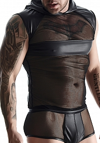 Wetlook & mesh Men's sleeveless - Black